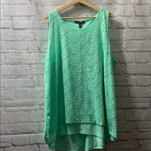 NWT French Laundry Mint Green Lace Hi-Low Tank Top